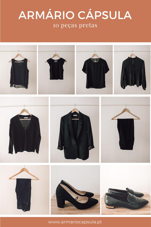 armário cápsula de 10 peças total black